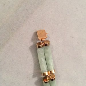 Jewelry - 14K Y Gold Green Jade Chinese Double Link Bracelet